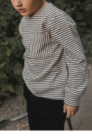 Rylee & Cru Striped Long Sleeve Skater Tee - Front full body