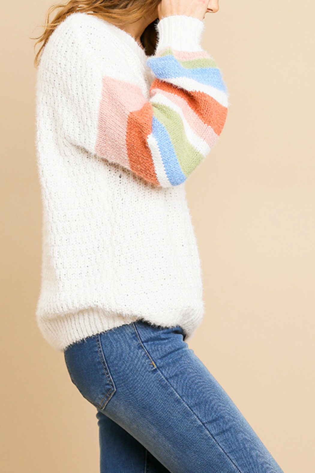 Umgee  Striped Long Sleeve  Sweater - Front Full Image