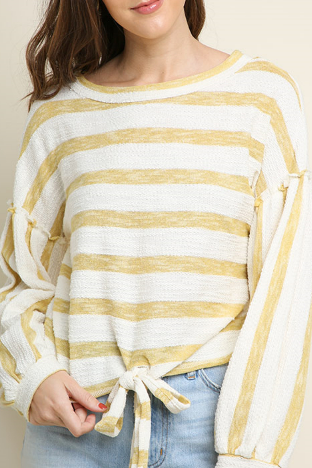 Umgee USA Striped long sleeve top - Front Cropped Image