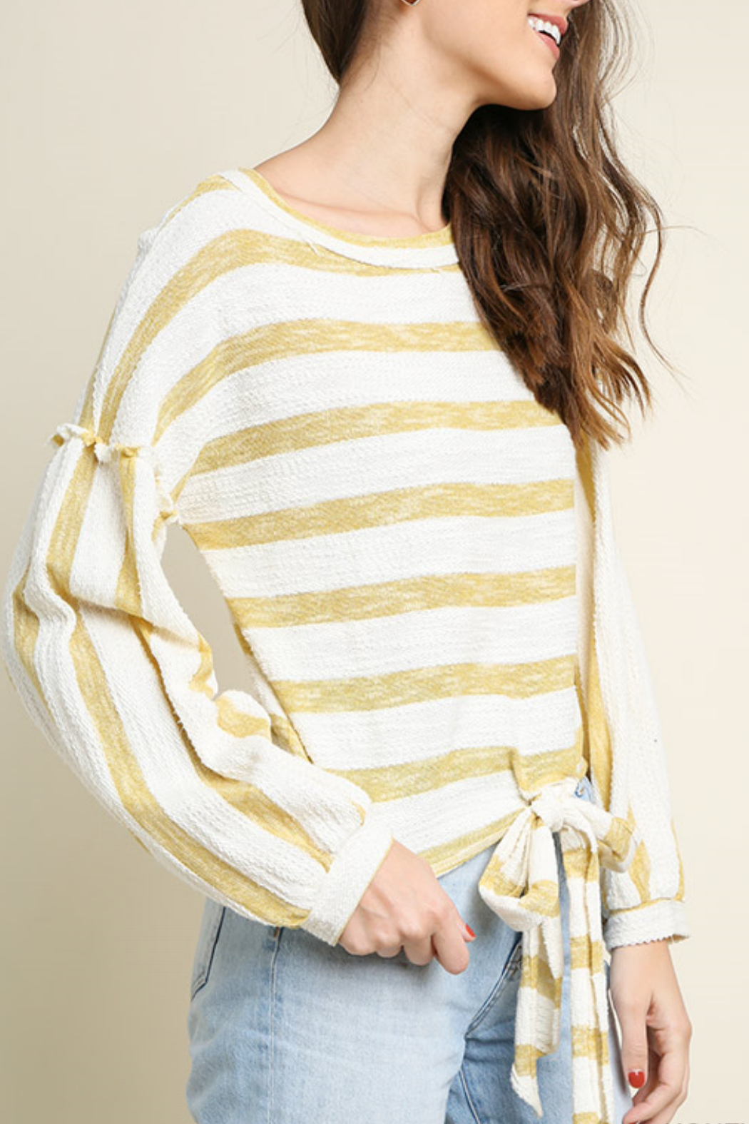 Umgee USA Striped long sleeve top - Front Full Image