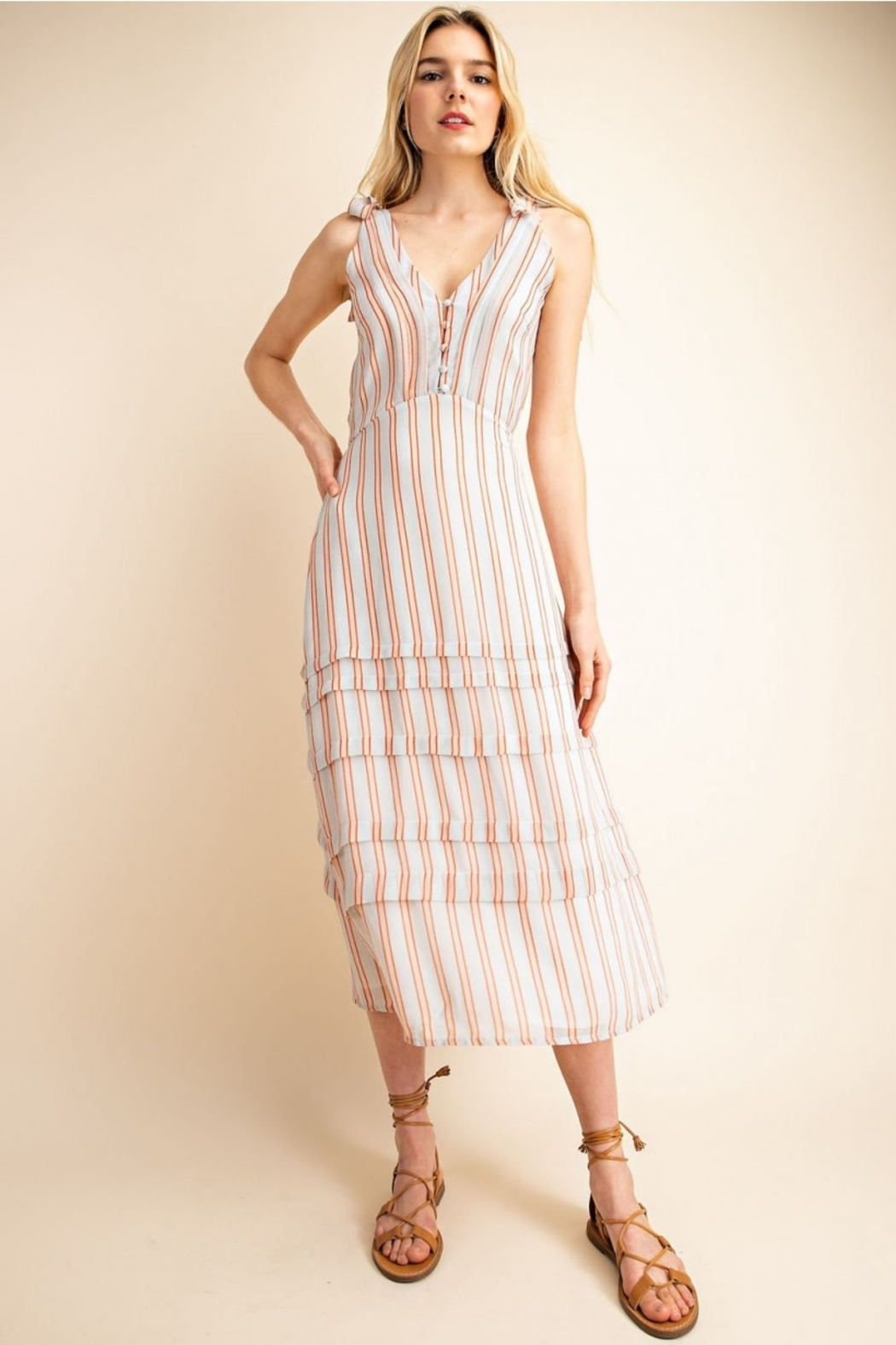 Gilli  Striped Midi Dress - Front Cropped Image