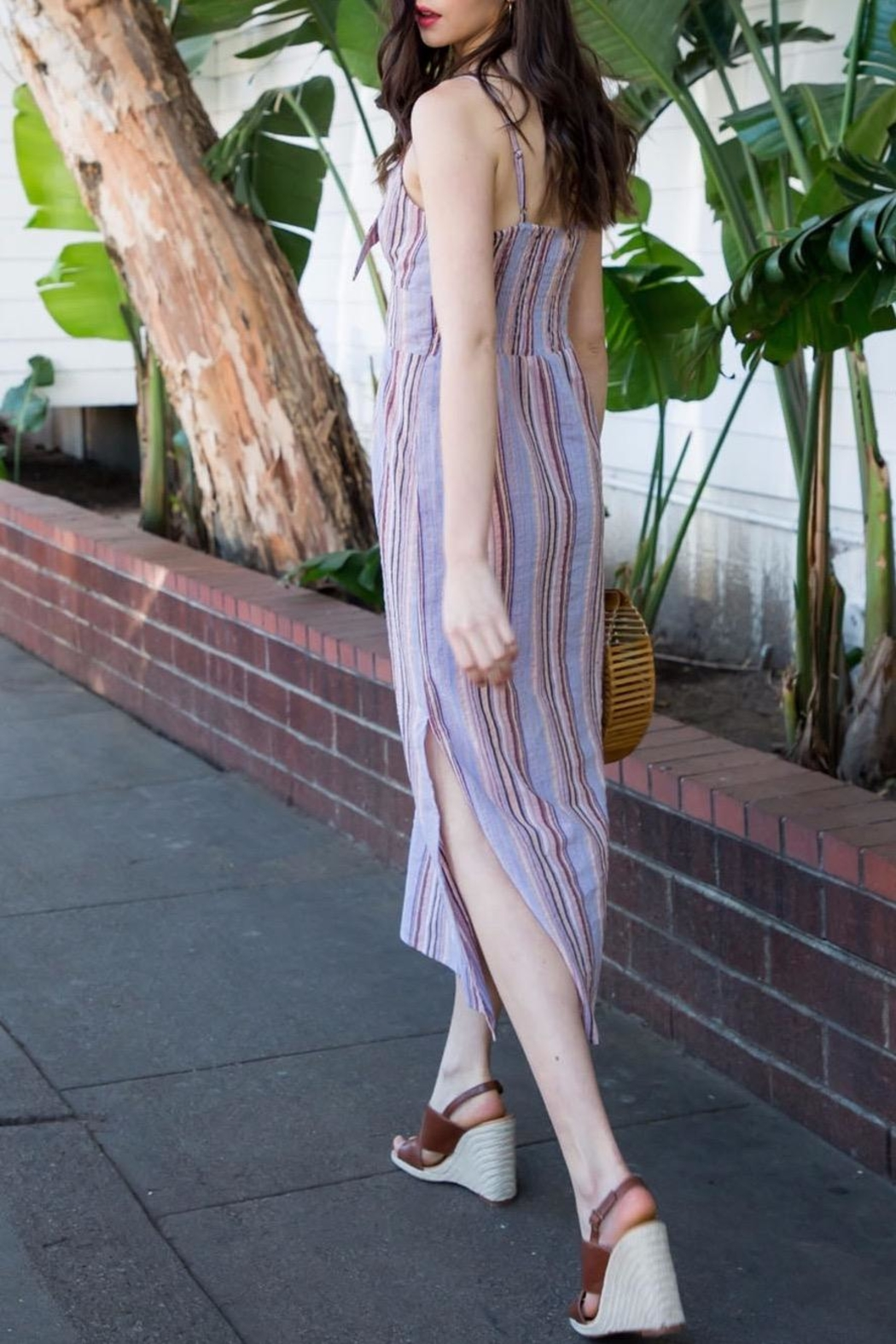 THML Clothing Striped Midi Dress - Front Full Image
