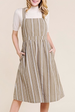 Polagram Striped Midi Apron Dress - Product List Image