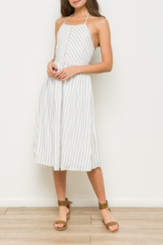 Hem & Thread Striped Midi Dress with Front Crochet Inset - Product Mini Image