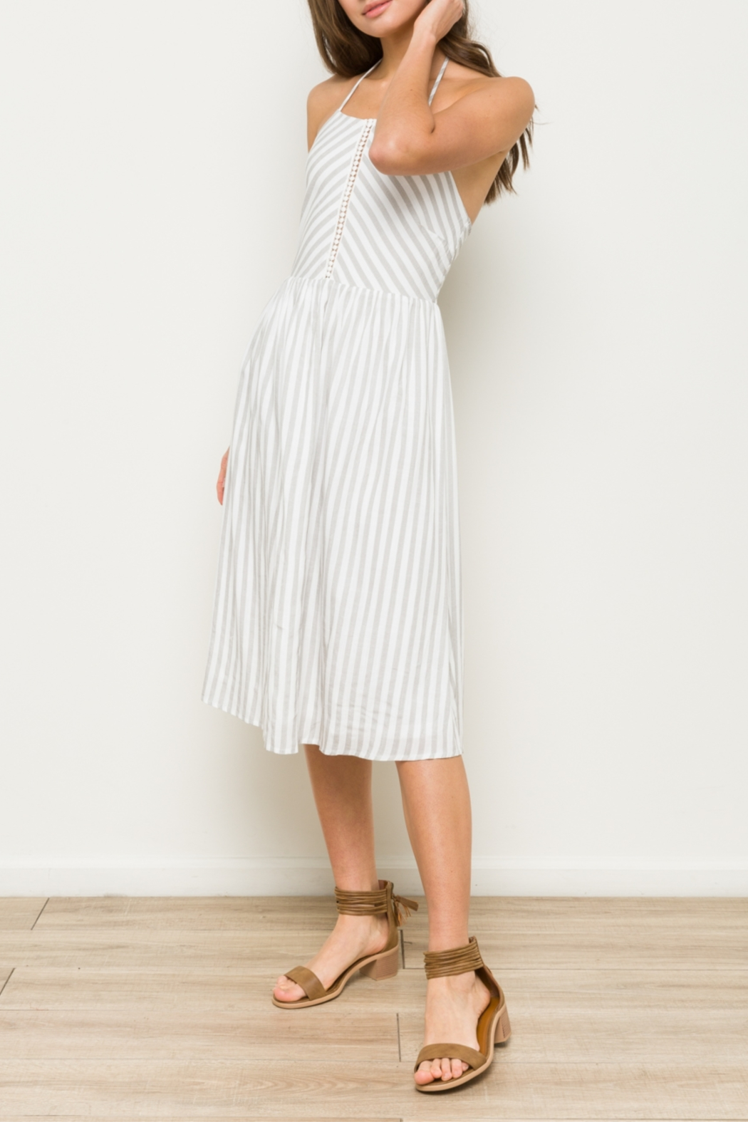 Hem & Thread Striped Midi Dress with Front Crochet Inset - Front Full Image