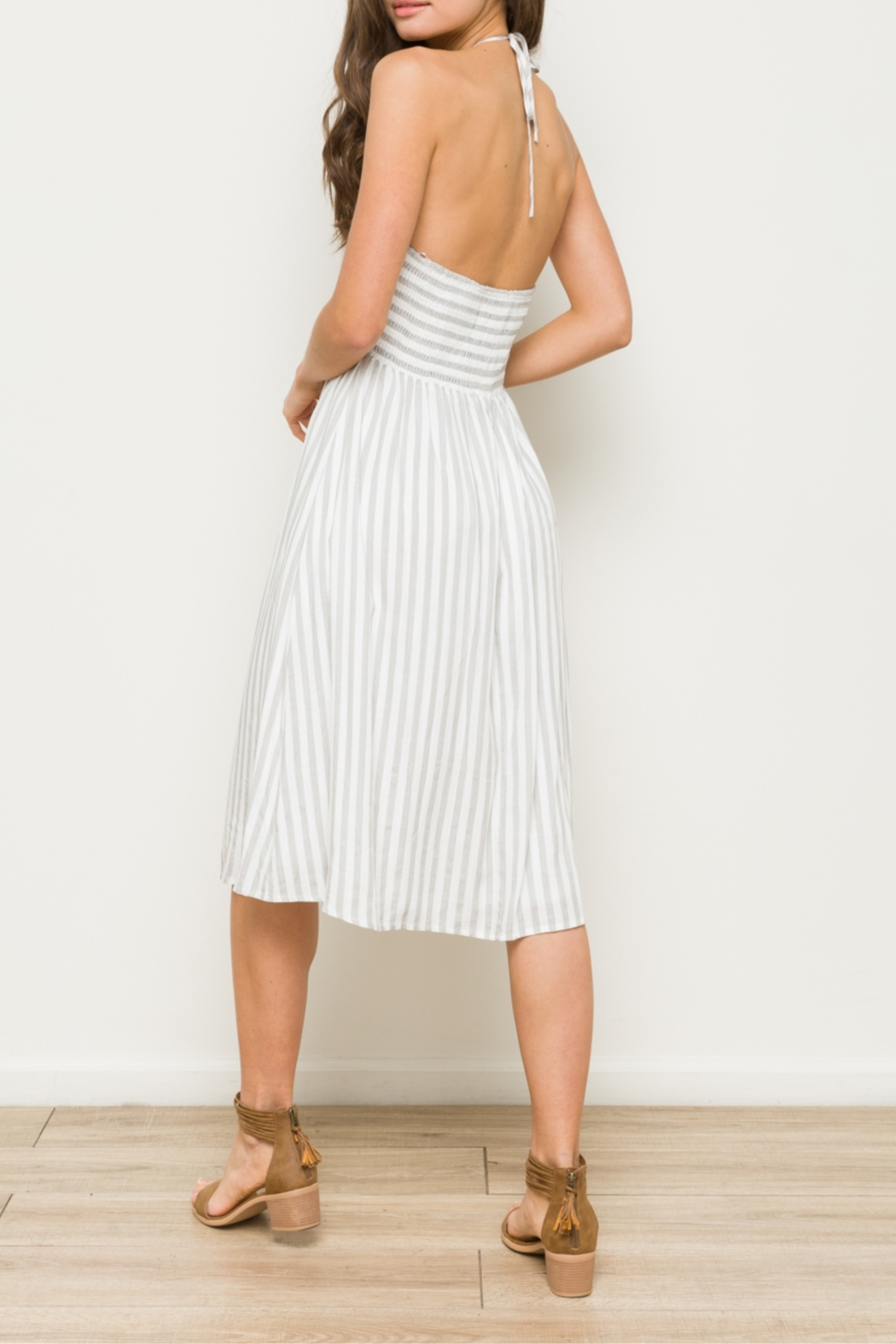 Hem & Thread Striped Midi Dress with Front Crochet Inset - Back Cropped Image