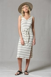 By Together  Striped midi dress with front tie - Product Mini Image