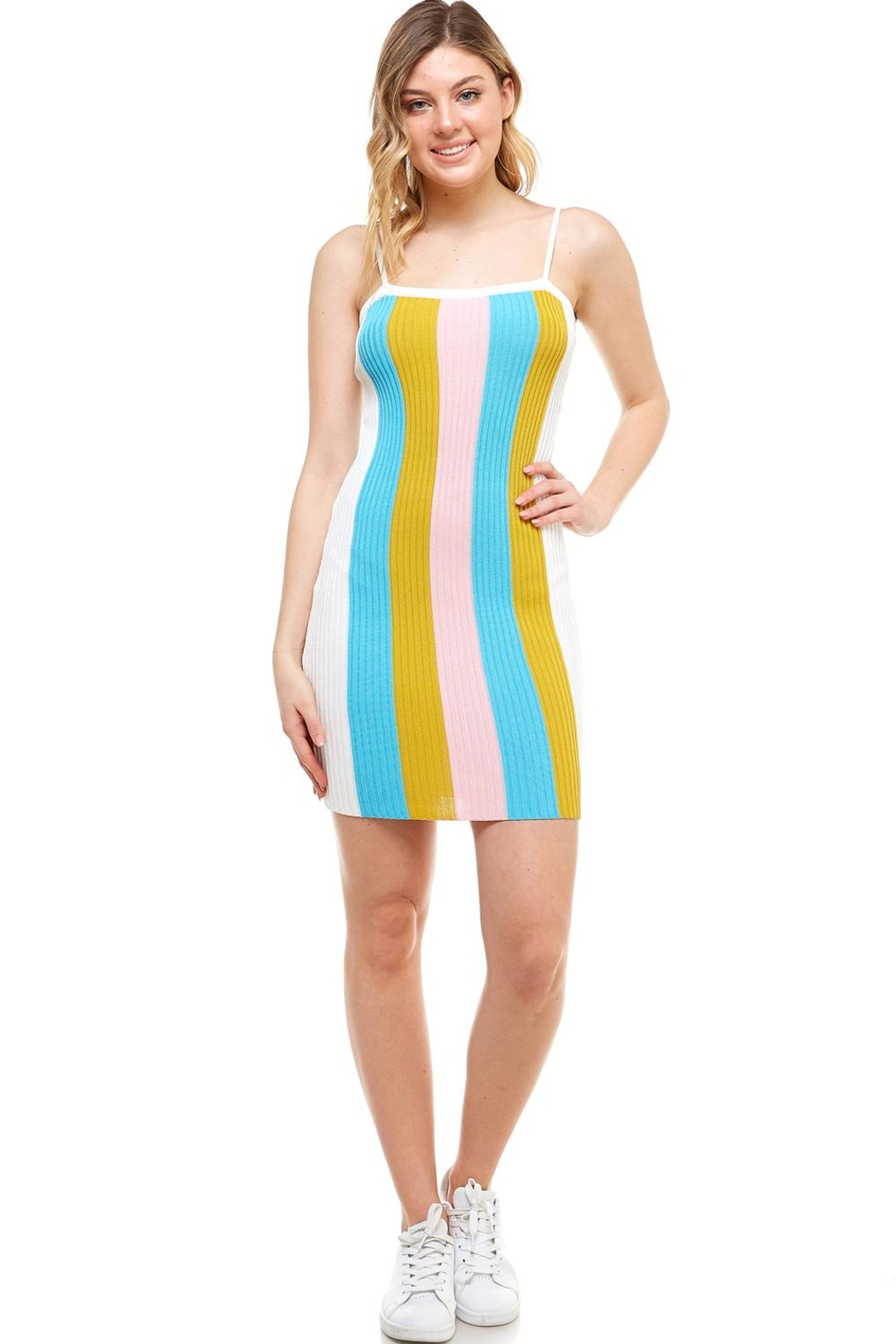 blue blush Striped Mini Dress - Front Cropped Image