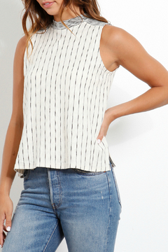 Three Dots Striped Mock Neck Flared Tank - Alternate List Image