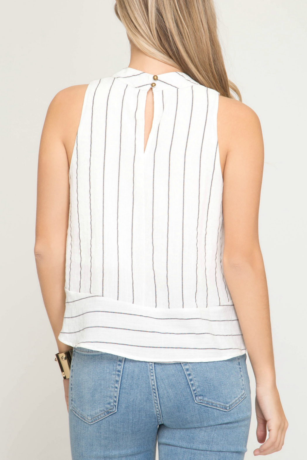 She & Sky  Striped mock neck top - Front Full Image