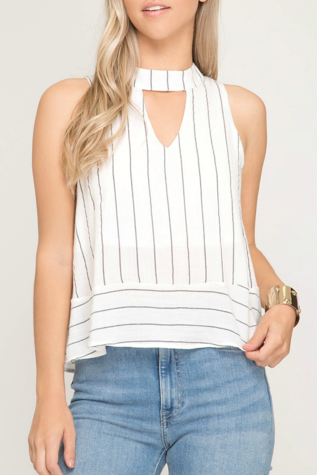 She & Sky  Striped mock neck top - Main Image