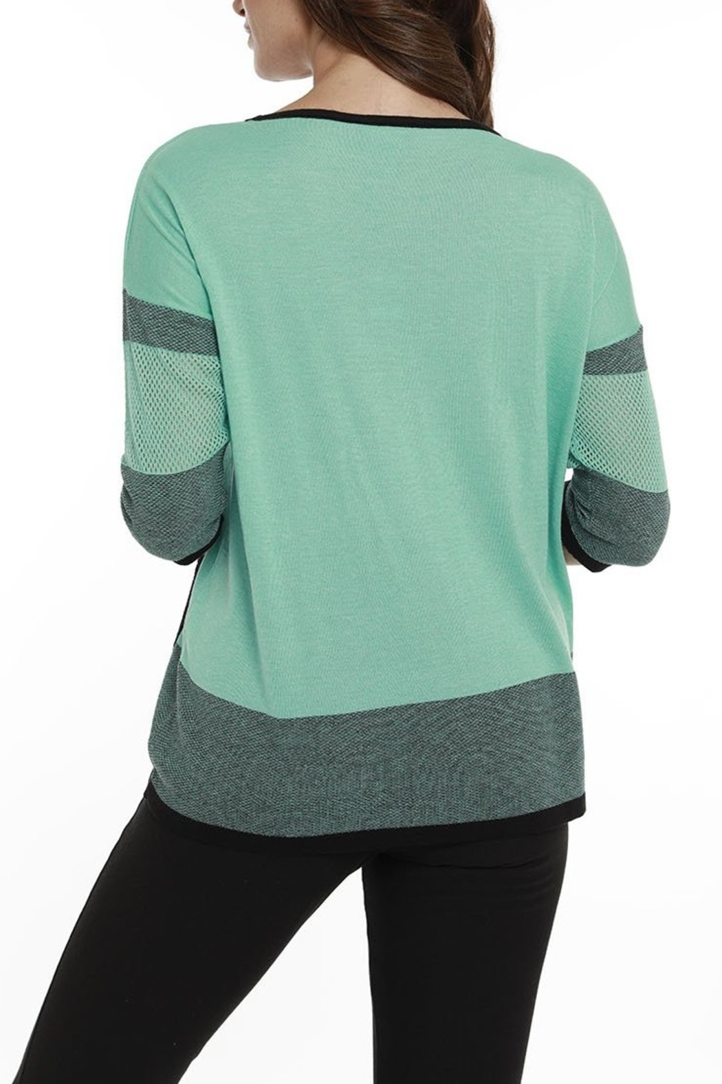 Angel Apparel Striped Netted Tunic - Front Full Image