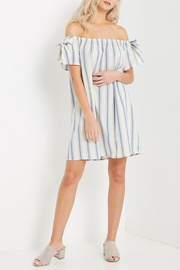Soprano Striped Off-Shoulder Dress - Product Mini Image