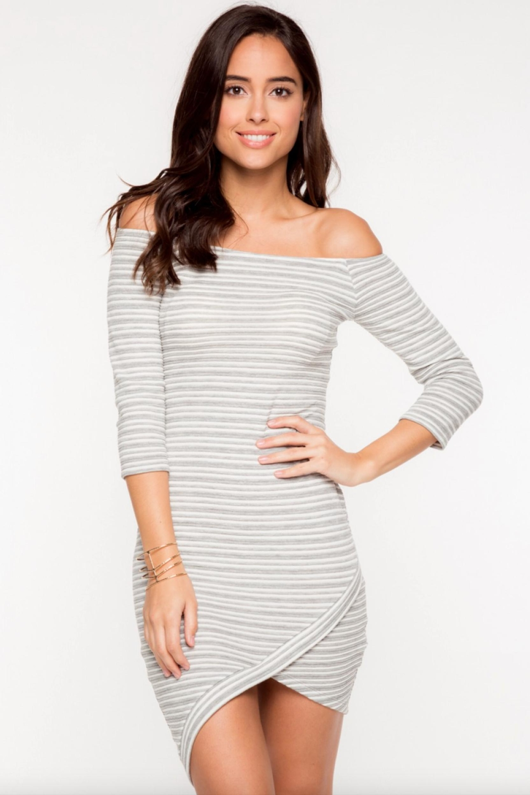 Everly Striped Off-Shoulder Dress - Main Image