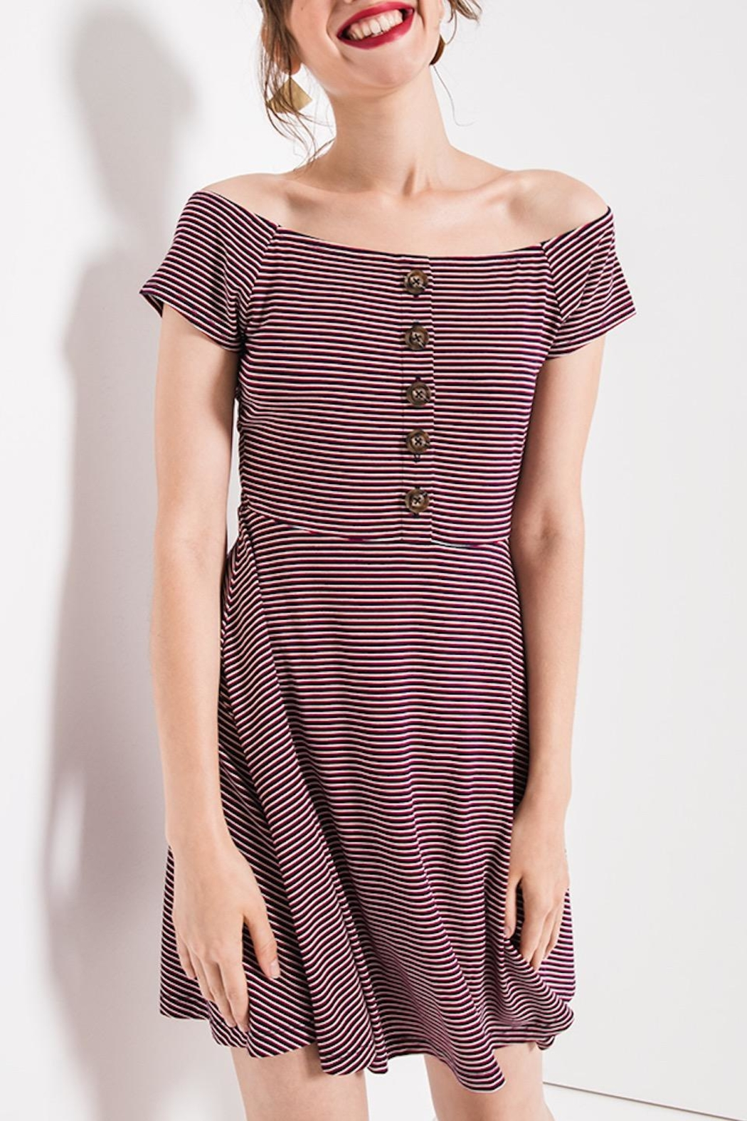 Others Follow  Striped Off-Shoulder Dress - Main Image