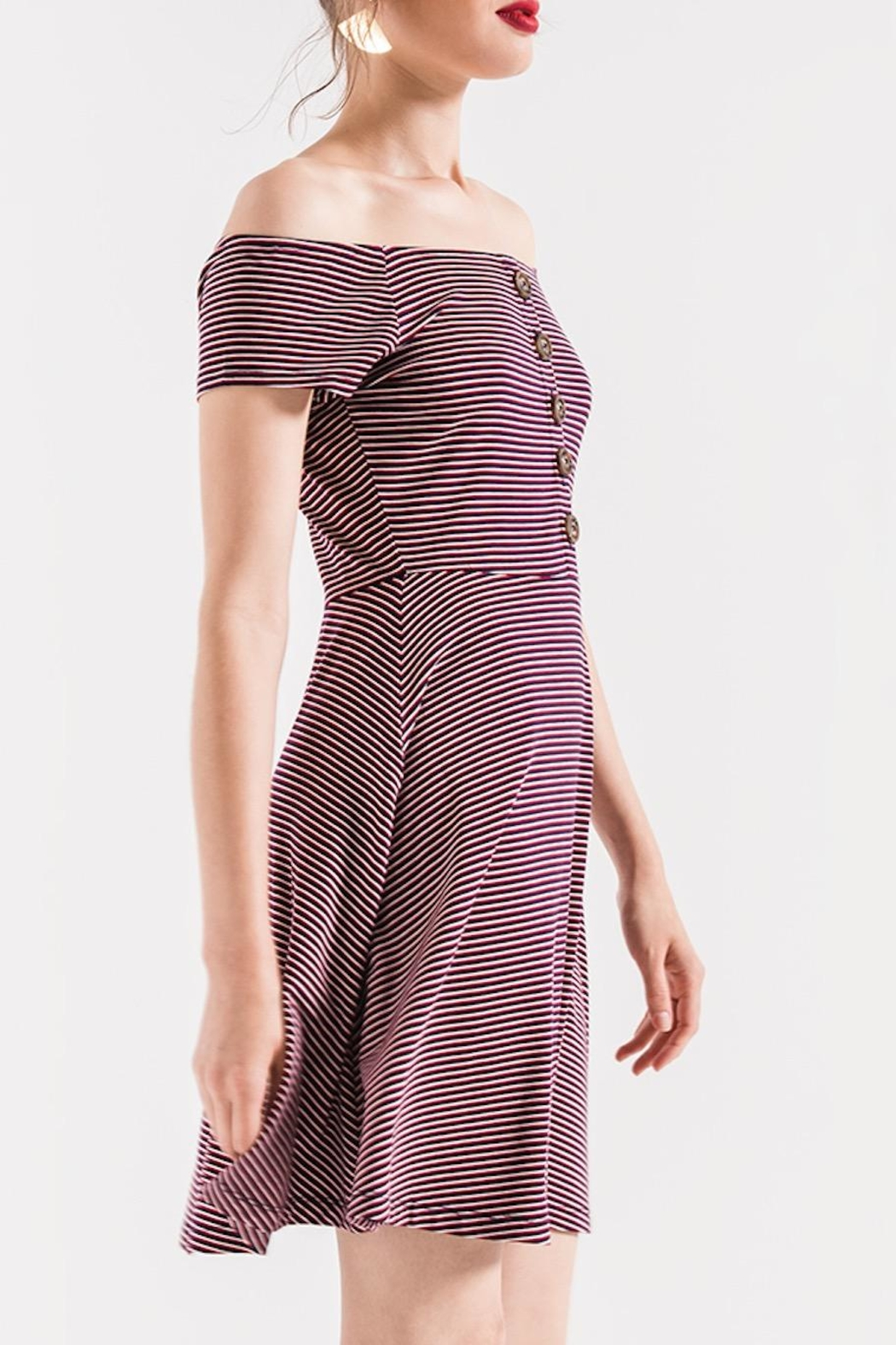 Others Follow  Striped Off-Shoulder Dress - Side Cropped Image