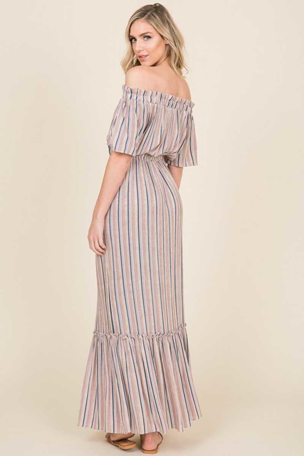 annabelle Striped Off Shoulder Tassel Maxi Dress - Front Cropped Image