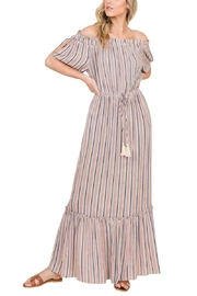 annabelle Striped Off Shoulder Tassel Maxi Dress - Front full body