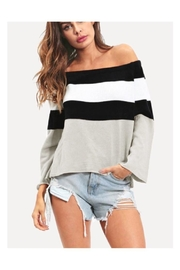 Polly & Esther Striped Off-Shoulder Top - Product Mini Image