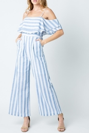 BaeVely Striped Off-The-Shoulder Jumpsuit - Product Mini Image