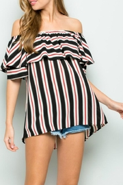 Sweet Lovely Striped Off-The-Shoulder Layer-Sleeve - Product Mini Image