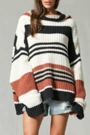 By Together Striped off the shoulder long slv top - Product Mini Image