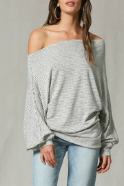 By Together Striped off the shoulder top - Product Mini Image
