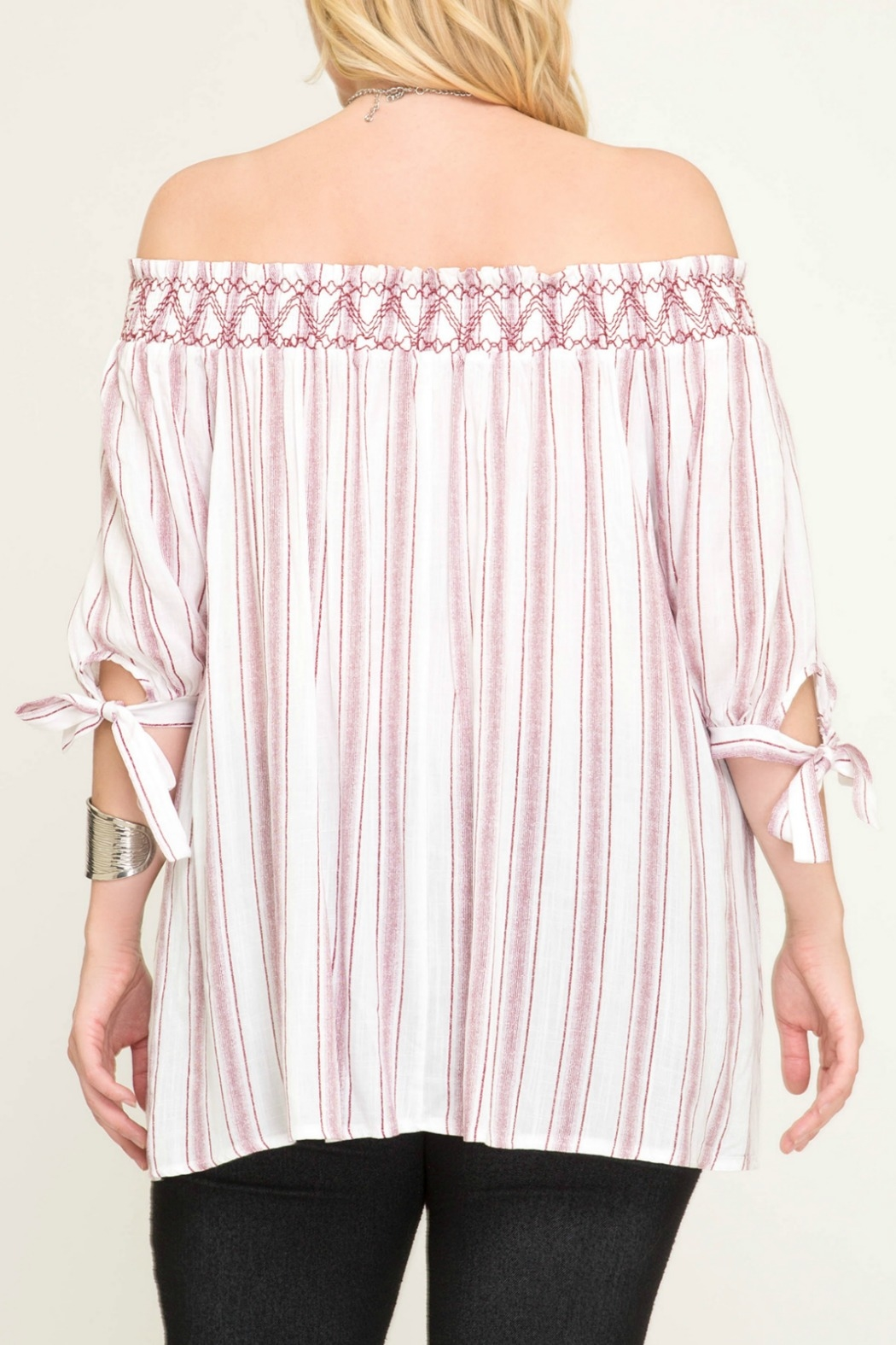 She + Sky Striped Off The Shoulder Top with Smocking - Back Cropped Image