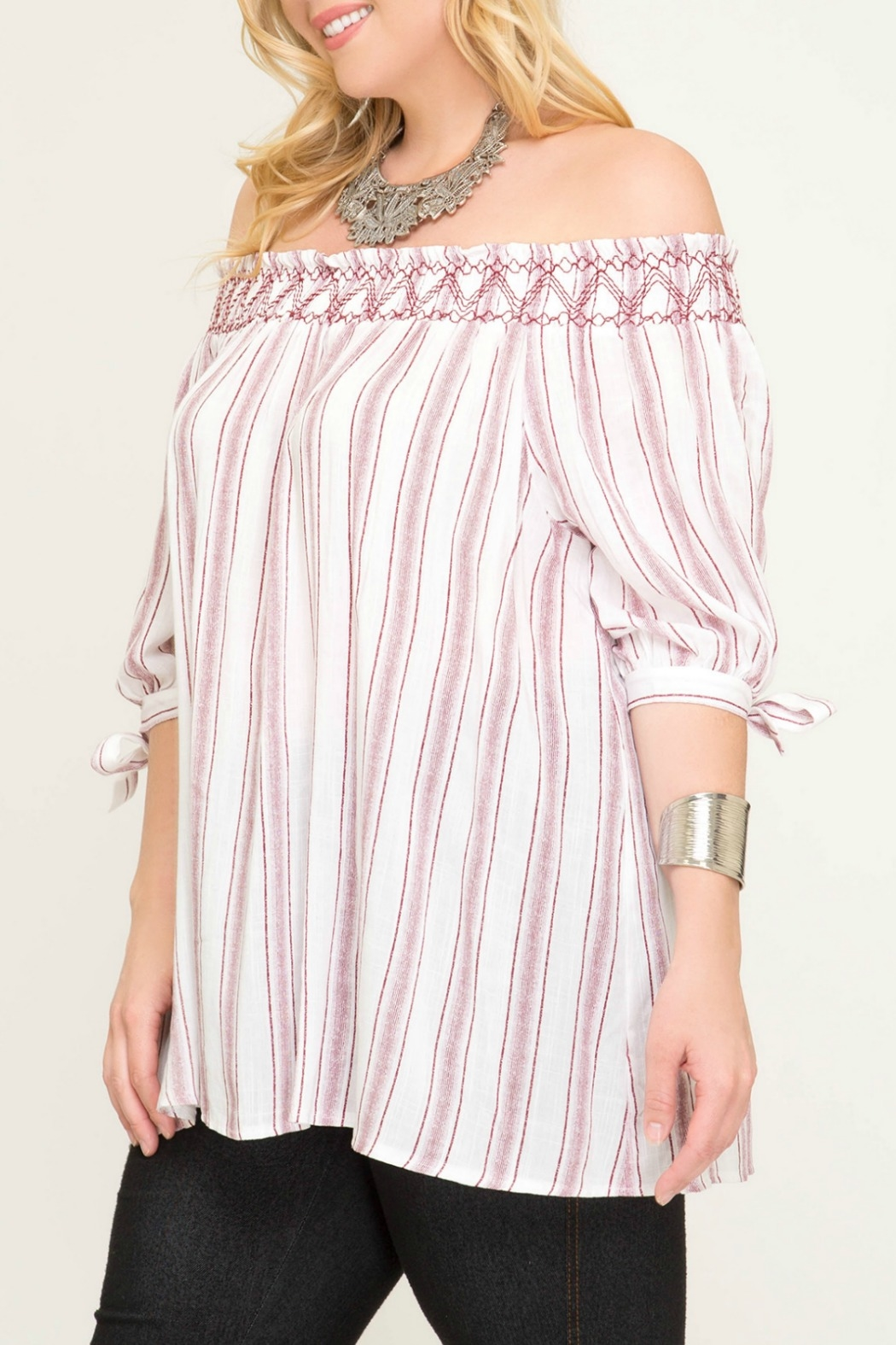 She + Sky Striped Off The Shoulder Top with Smocking - Front Full Image