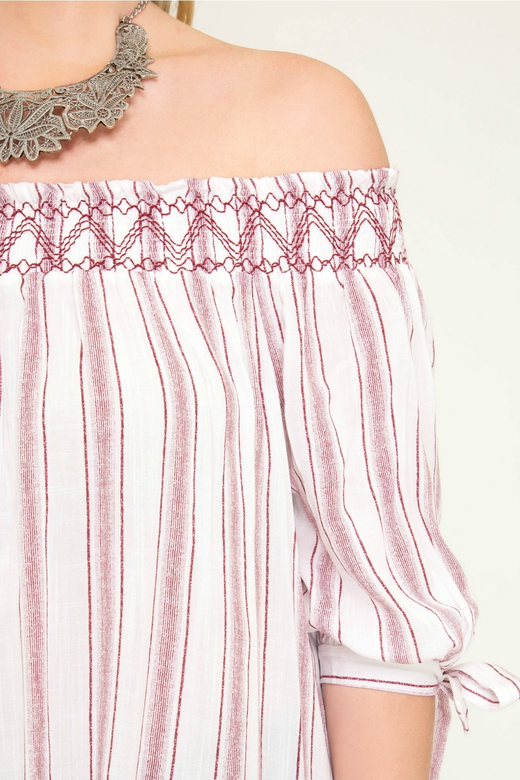 She + Sky Striped Off The Shoulder Top with Smocking - Side Cropped Image
