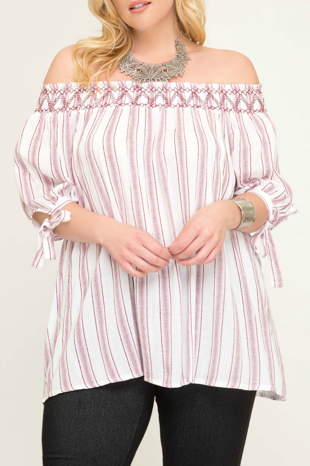 She + Sky Striped Off The Shoulder Top with Smocking - Main Image