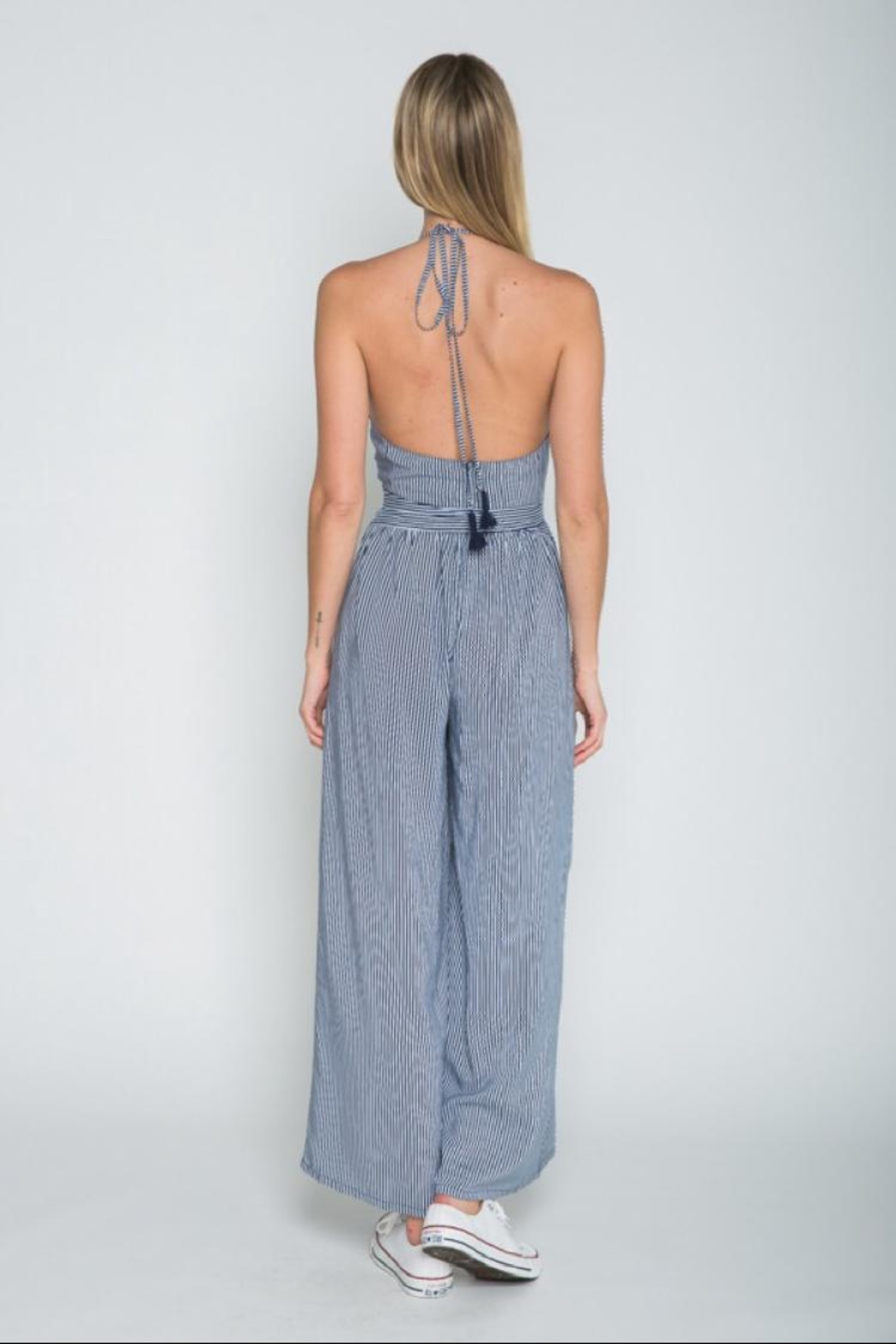 skylar madison Striped Open-Back Jumpsuit - Front Full Image