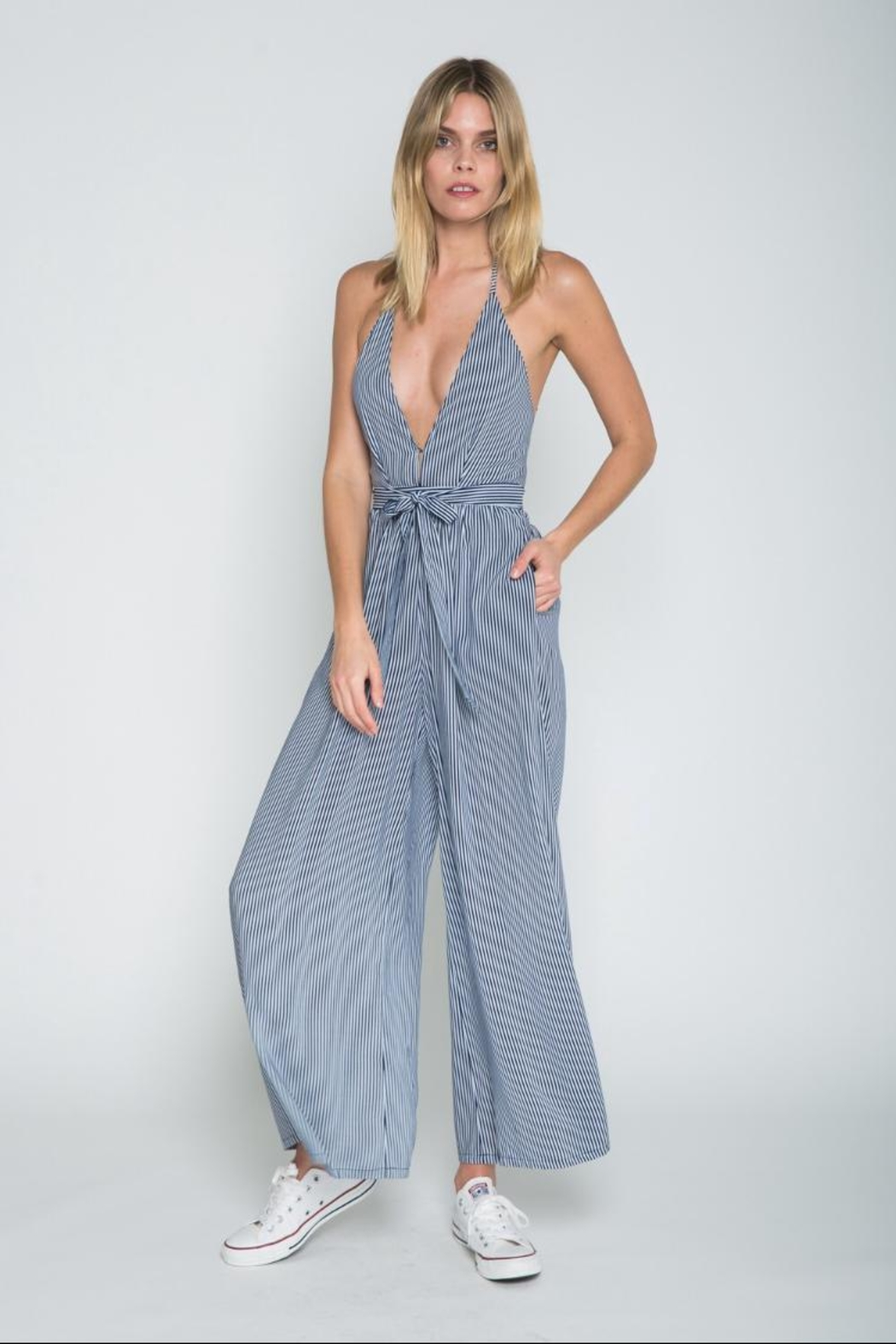 skylar madison Striped Open-Back Jumpsuit - Main Image