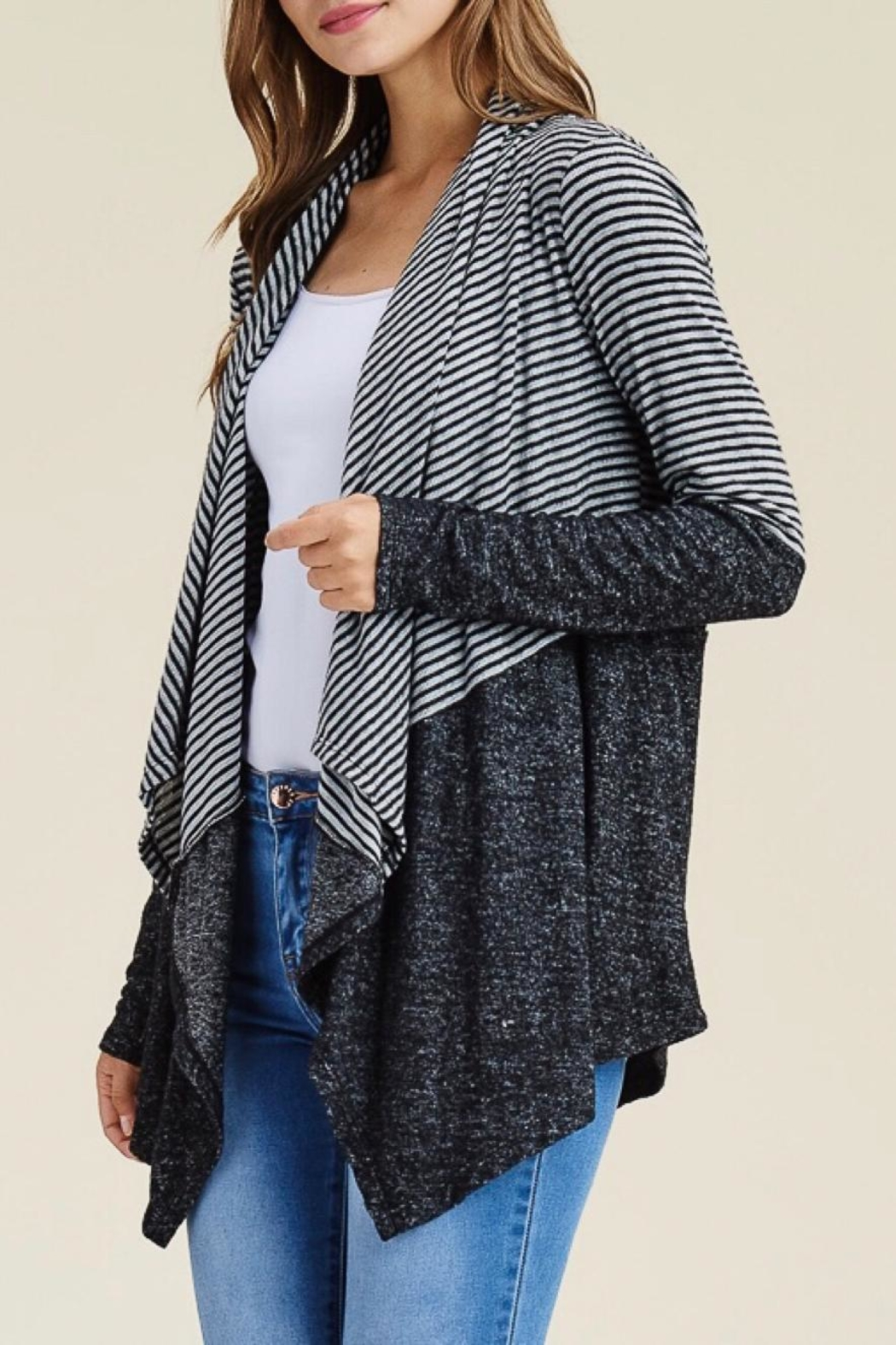 LuLu's Boutique Striped Open Cardigan - Front Cropped Image