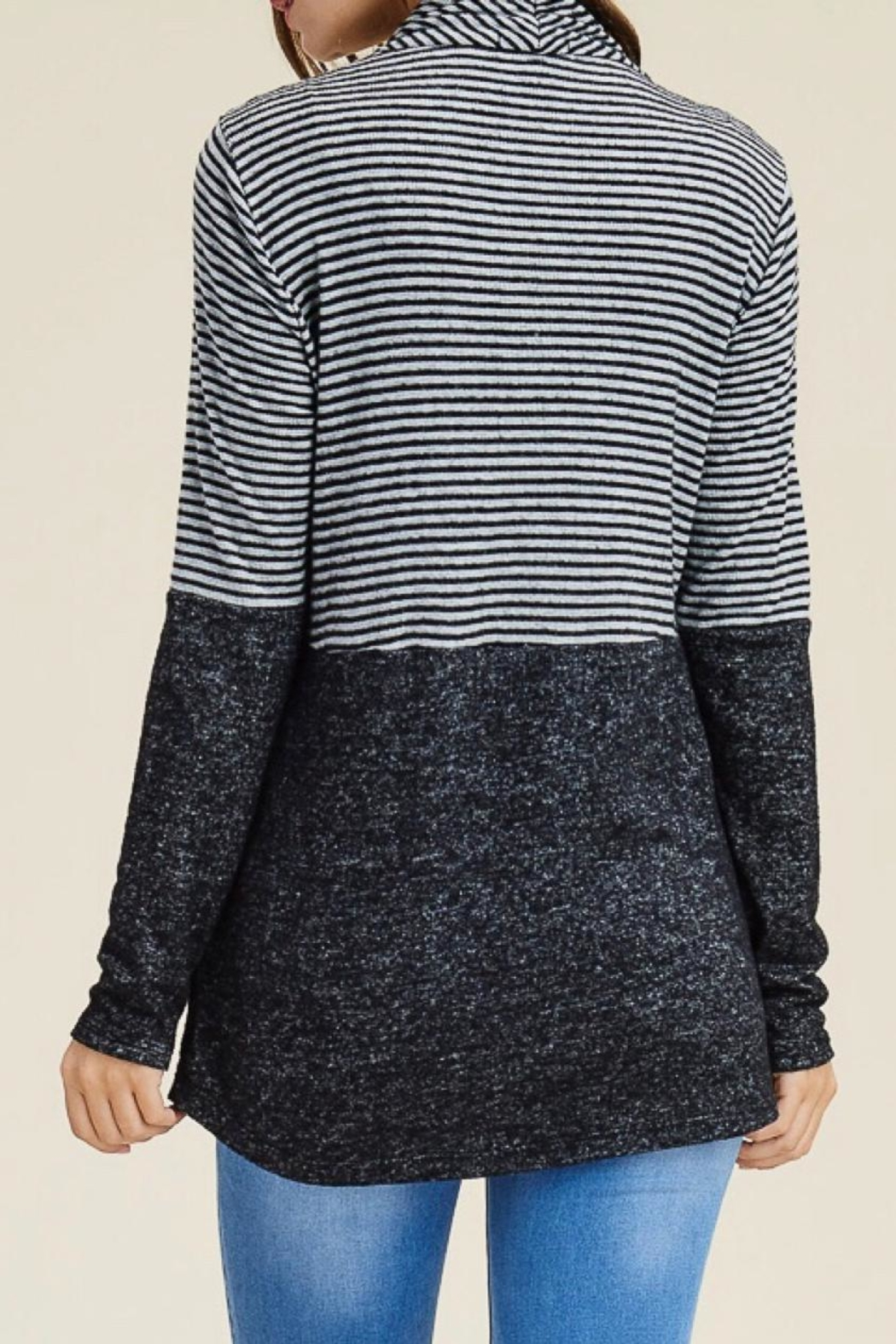 LuLu's Boutique Striped Open Cardigan - Back Cropped Image