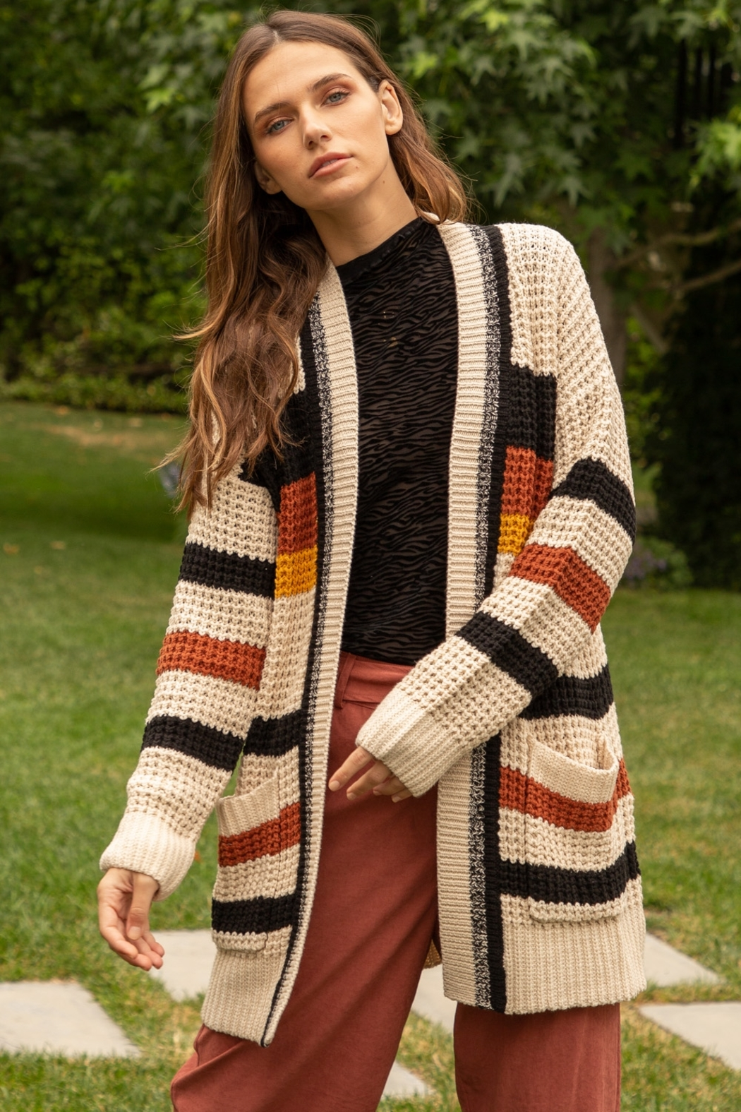 Hem and Thread Striped Open Cardigan - Main Image
