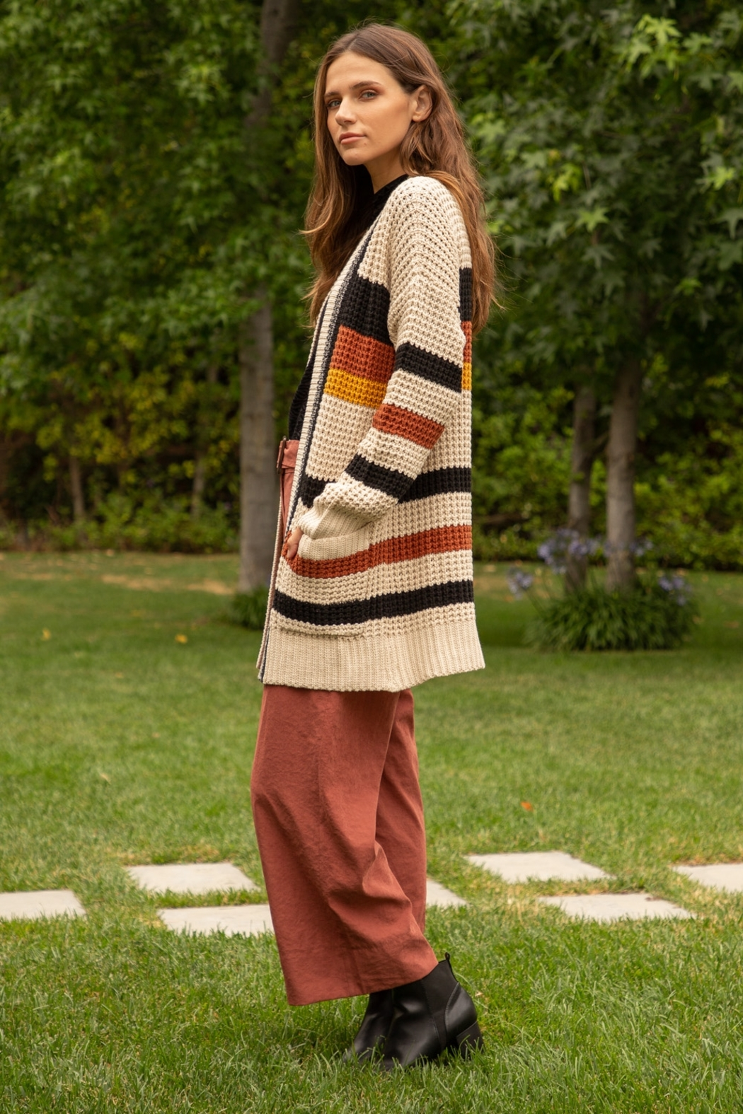 Hem and Thread Striped Open Cardigan - Side Cropped Image