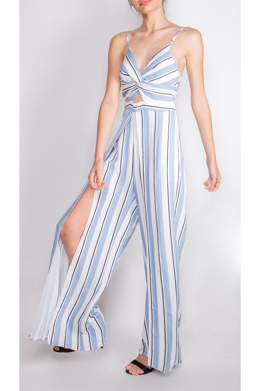 luxxel Striped Open-Leg Jumpsuit - Side Cropped Image
