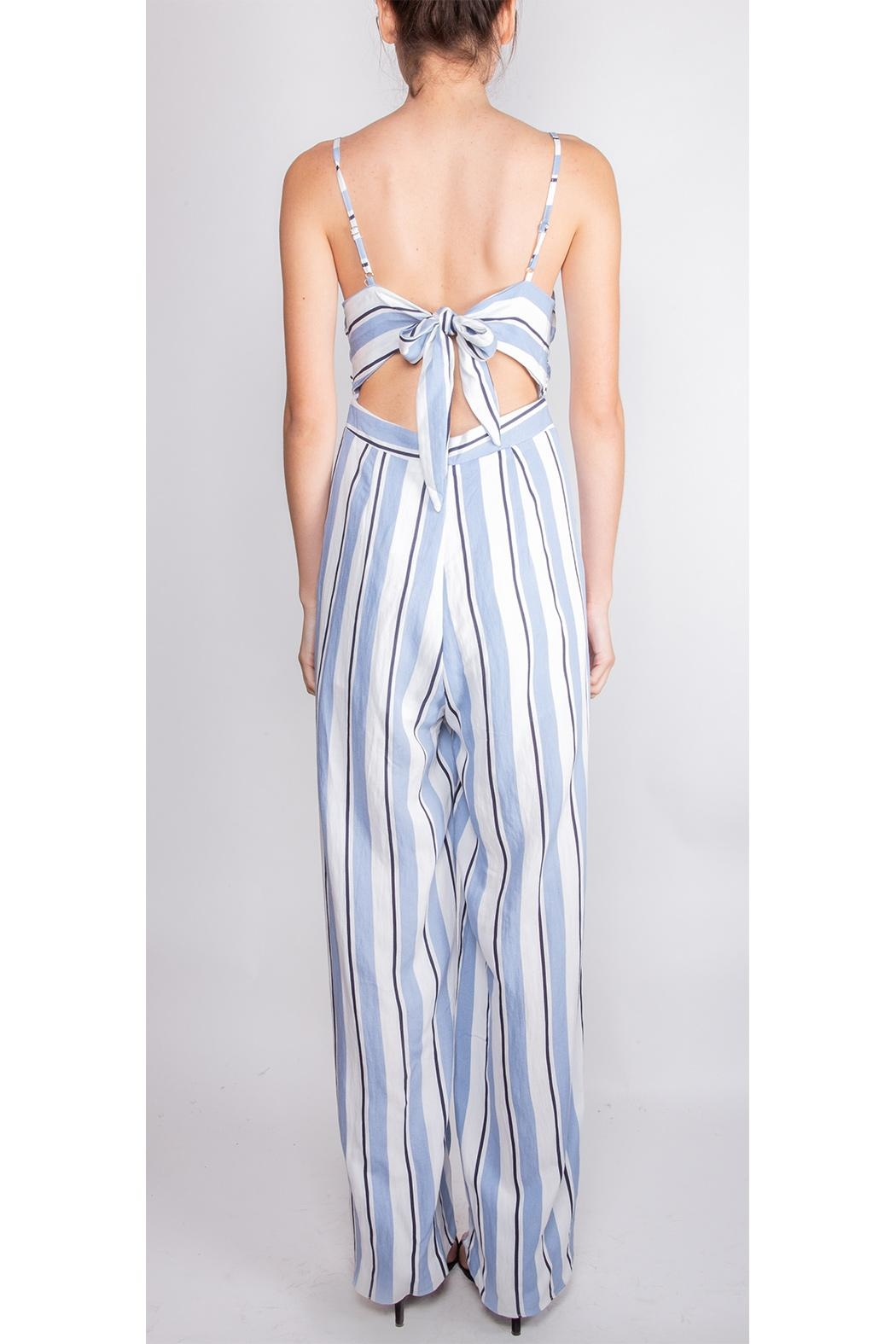 luxxel Striped Open-Leg Jumpsuit - Back Cropped Image