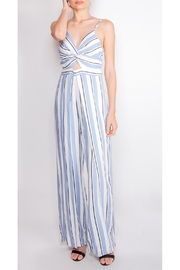 luxxel Striped Open-Leg Jumpsuit - Front cropped