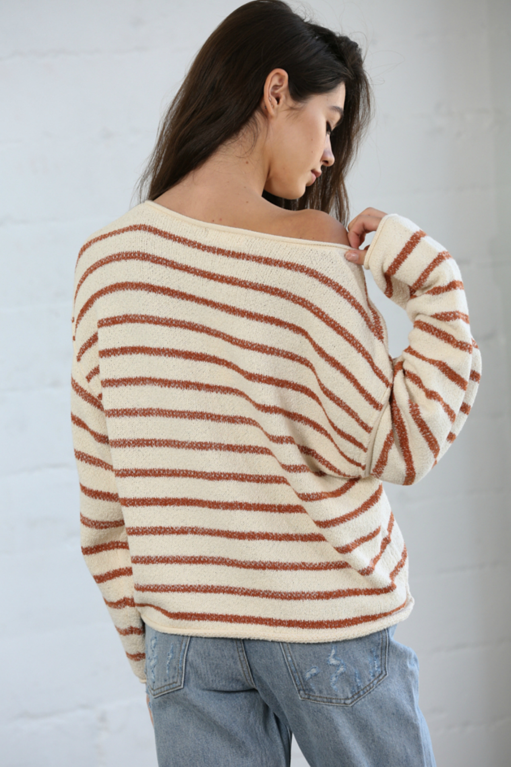 By Together  Striped Oversized Top - Front Full Image
