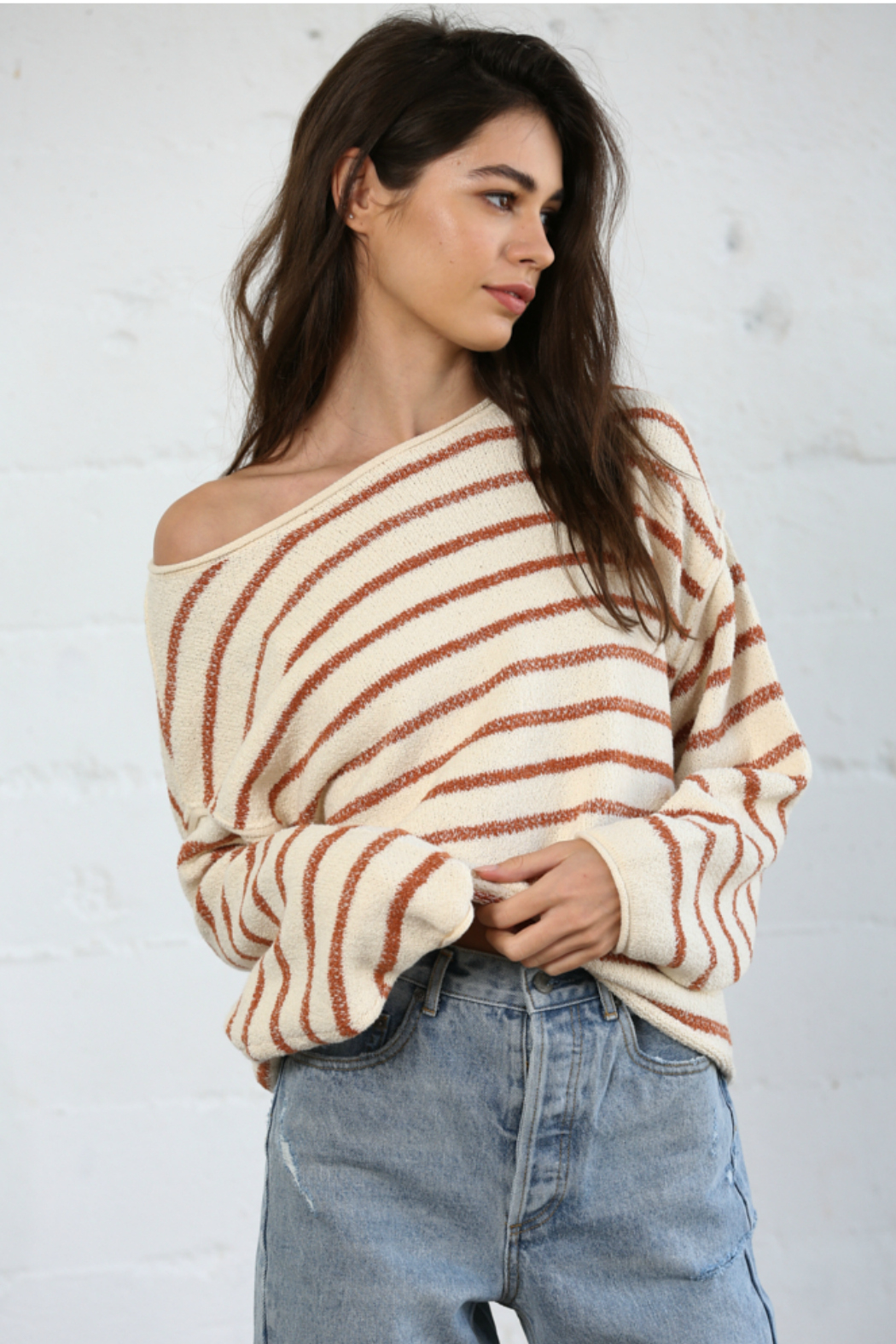 By Together  Striped Oversized Top - Main Image