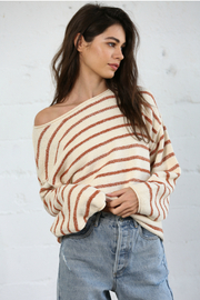 By Together  Striped Oversized Top - Product Mini Image