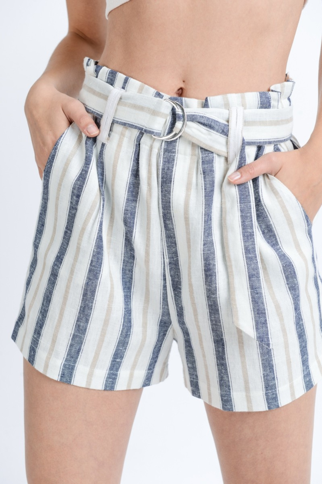 Love Tree Striped Paper Bag Shorts - Front Full Image