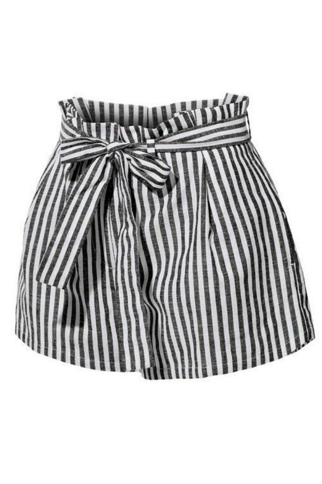 2Sable Striped Paperbag-Waisted Shorts - Front Full Image