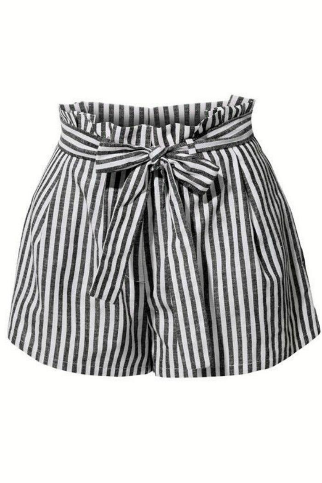 2Sable Striped Paperbag-Waisted Shorts - Front Cropped Image