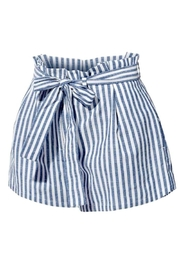 2Sable Striped Paperbag-Waisted Shorts - Front full body
