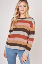 Mustard Seed  Striped Pocket Front Sweater - Product Mini Image