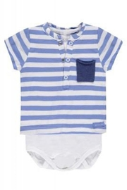 Belly Button Striped Pocket Onesie - Front cropped