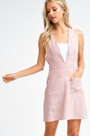 MONTREZ STRIPED POCKET OVERALL DRESS - Product Mini Image